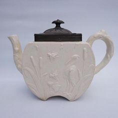 Late 19th C Copeland Salt Glazed Stoneware Aesthetic Teapot Birds & Insects