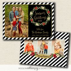 Christmas Photo Card. Modern floral and stripe. This is my favorite!