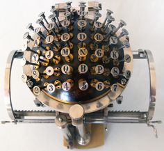 'TheHansen Writing Ball was invented in 1865 by the Rasmus Malling-Hansen. The writing ball was first patented and entered production in 1870, and was the first commercially produced typewriter.' - www.remix-numerisation.fr