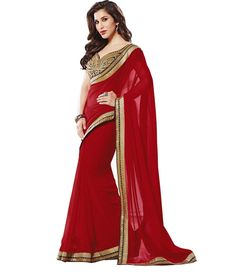 New Designer Red Chiffon Lace Border Work Saree With Blouse MTHE 31754036740 - buy Sarees online from The Great Look at CraftsVilla.com