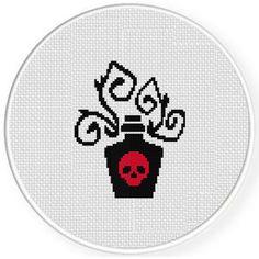 Baroque Poison Cross Stitch Pattern Cross Stitch Patterns Free Easy, Cross Stitch Borders, Cross Stitching, Cross Stitch Embroidery, Xmas Cross Stitch, Cross Stitch Kits, Cross Stitch Skull, Baroque, Halloween Cross Stitches