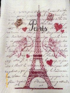 Flour Sack Towel Eiffel Tower Valentines by JulieButlerCreations
