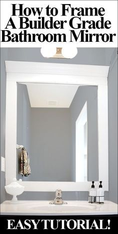 Diy framed mirror tutorial thick baseboard i think it was about10 how to frame a bathroom mirror how to frame mirrordiy solutioingenieria Images