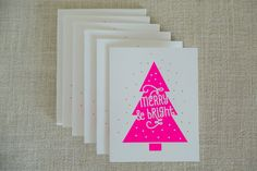 Neon, Christmas Card, Merry and Bright, Screenprint, Christmas Tree, Handmade, Christmas Card Set, Holiday Card, Unique Christmas Cards by FMCstudio on Etsy https://www.etsy.com/listing/208012065/neon-christmas-card-merry-and-bright
