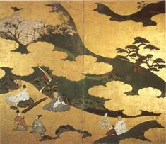 Genji Monogatari (Tale of Genji), ink and color on gold paper mounted as a two-panel screen attributed to Tosa Mitsuyoshi, 16th or early 17th century Japanese, Honolulu Academy of Arts
