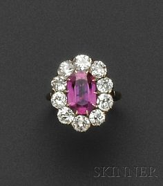 Antique 18kt Gold, Burma Ruby, and Diamond Ring