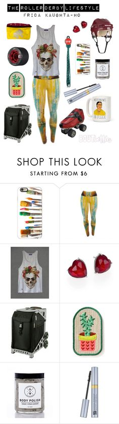 Roller derby fashion | Frida Kaughta-ho by Bout Betties on Polyvore featuring Adriana Orsini, Casetify, Estée Lauder, Birchrose + Co., Riedell