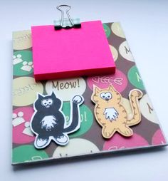 Mini Clipboard  Cats  Magnetic Notepad  by CraftyMushroomCards