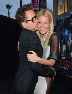 "Robert Downey Jr. and Gwyneth Paltrow at ""Iron Man 3"" Premiere. Enter here for MRR's May Marvel Bluray Collection Giveaway: https://www.facebook.com/MovieRoomReviews/app_228910107186452"