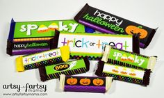 Find creative craft tutorials, simple recipes, printables and more at Artsy-Fartsy Mama Free Printable Halloween Candy Bar Wrappers at artsyfartsymama Halloween Bottle Labels, Halloween Candy Bar, Halloween Decorations For Kids, Halloween Treats For Kids, Holidays Halloween, Halloween Crafts, Halloween Ideas, Halloween Games, Free Halloween Printables