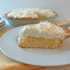 From Calculu∫ to Cupcake∫ Martha Stewart's Coconut Cream Pie for Pi Day No Bake Desserts, Just Desserts, Delicious Desserts, Dessert Recipes, Lemon Desserts, Yummy Food, Coconut Recipes, Baking Recipes, Best Recipe For Coconut Cream Pie