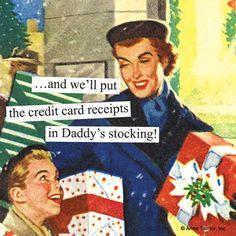 Christmas credit card receipts | Anne Taintor Christmas via Amazon