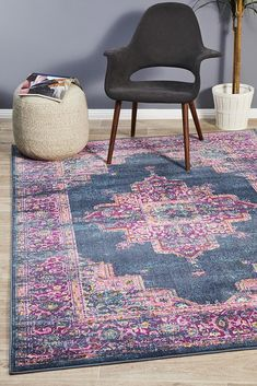 Babylon is the perfect collection for Summer, bursting with colour, life and character. The use of ornate geometric and floral motifs make these statement rugs a visual delight that will work beaut. Dark Blue Rug, Eclectic, Blue Furniture, Eclectic Rugs, Transitional Rugs, Rugs, Rugs Australia, Modern Rectangle, Rugs Online