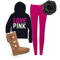 love everthing about this outfit the only thing I would change would be the uggs I would make them black