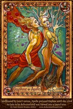 Daphne Apollo by Soni Alcorn-Hender. The ancient definition of disinterest is when one would actually rather be a tree. Apollo Mythology, Greek Mythology, Ovid Metamorphoses, Laurel Tree, Drawing Sketches, Drawings, Amaterasu, Egyptian Goddess, Durga