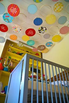 awesome fabric embroidery hoop project. Love them hanging above the crib and you can pick fabric to match your scheme. so cute!