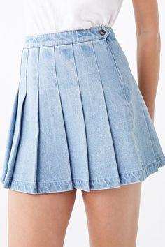 Denim Knife Pleat Mini Skirt - Women S Denim Knife Pleat Mini Skirt Fashion Models, Denim Fashion, Skirt Fashion, Fashion Outfits, Fashion Goth, Fashion Tips, Knife Pleated Skirt, Pleated Mini Skirt, Denim Mini Skirt