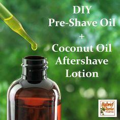 DIY Pre-Shave Oil + Coconut Oil Aftershave Lotion from HybridRastaMama.com