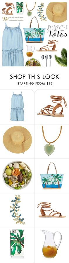 """Beach Totes"" by saviraauliap ❤ liked on Polyvore featuring Splendid, Valia Gabriel, Lalique, Pier 1 Imports, Kate Spade, Joanna Laura Constantine, Dartington Crystal, WMF and beachtotes"
