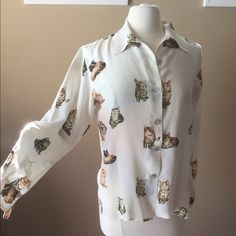 Fu Da Silk Shirt with Cats The perfect shirt for cat ladies! Silk shirt with cute kittens and cats. Shown on size 6/8 mannequin (37-26-37)Check out the $6 section of my closet (before the sold items). Lots of bundle-worthy $6 items! 15% bundle discount on 2+ items in a bundle.NO TRADES Fu Da Tops Blouses