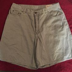 Eddie Bauer shorts 100% cotton sage green shorts. So comfortable. Eddie Bauer Shorts