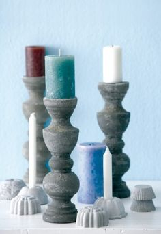 Cast candle holders in cement