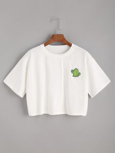 White Cactus Print Crop T-shirt Cute Lazy Outfits, Crop Top Outfits, Pretty Outfits, Stylish Outfits, Cool Outfits, Girls Fashion Clothes, Teen Fashion Outfits, Jugend Mode Outfits, Vetement Fashion