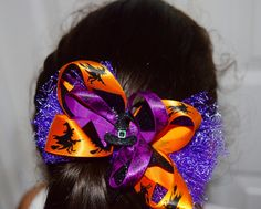 Halloween Girls Witch's Hat Hair Bow-Girls Witch's Halloween Hair Bow- Handmade Hair Bow Girls Halloween Cute Bow by RachelsHairBowtique on Etsy