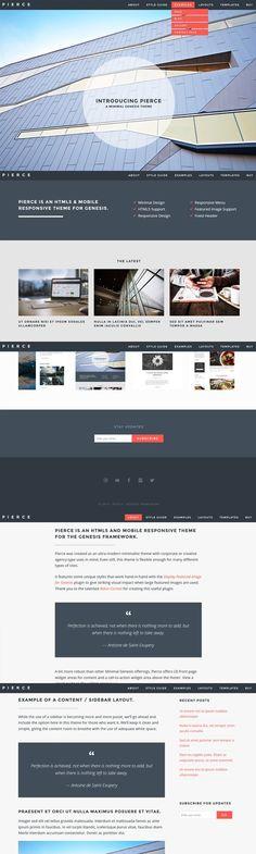 Pierce - Minimal Genesis Theme. WordPress Photography Themes. $30.00