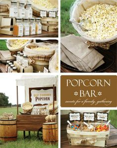 I seriously LOVE this. Popcorn Bar. just get a huge bag of plain popcorn, and put out a bunch of different seasonings, mix-ins, etc, and let the guests go to town. We are definitely doing this!