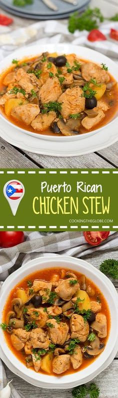This traditional Puerto Rican Chicken Stew (Pollo Guisado) is easy and quick to… This comforting and filling chicken stew comes from Puerto Rico, and it's amazing. Chicken, veggies, mushrooms, all combined to create a Caribbean feast in your kitchen! Mexican Food Recipes, Soup Recipes, Chicken Recipes, Cooking Recipes, Ethnic Recipes, Stew Chicken Recipe, Chicken Meals, Cooking Food, Puerto Rican Cuisine