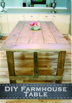 Add that rustic feel to your kitchen with this DIY Farmhouse Table!