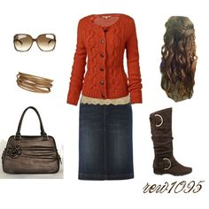 """""""Gold and orange"""" by rew1095 on Polyvore. Take out the bracelet and it's a perfect apostolic, pentecostal outfit. #love it"""