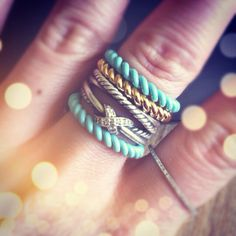 Stacked David Yurman + Sandy Frozen Rope ring set. My finger is running out of space!