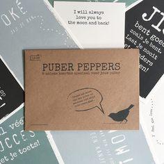 PUBER PEPPERS - 8 unieke kaarten speciaal voor je puber #wenskaarten #pubers #hetlevenvaneenpubergaatnietoverrozen #cards #puberpeppers #skur #opvoeden #opgroeien #kaarten #quotes