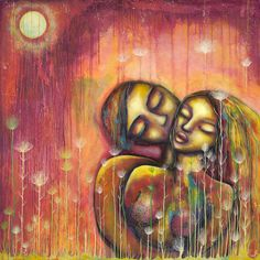 Lovers large print by outiart on Etsy (Art & Collectibles, Prints, couple, man and woman, orange, red, yellow, sensual, wedding gift, home decor, outiart, kiss, romantic, wall art, flowers)