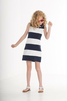 Biscotti She's Got Stripes Dress in sizes 7 - The bold navy and white stripes on this classic cotton knit shift dress celebrate that fresh all American style everyone loves. Spring 2014, Biscotti, Striped Dress, Navy And White, Stripes, Fresh, Knitting, American, Celebrities