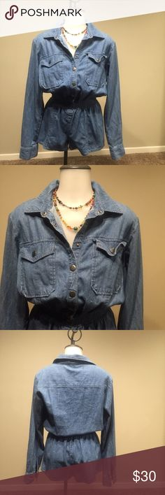 Premium Denim Romper Rock this unique piece with a pair of moccasins, sandals or your favorite sneakers. Item was only worn once. Great condition Forever 21 Other