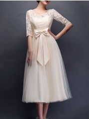 Patchwork Bowknot Elegant Round Neck Party Dress