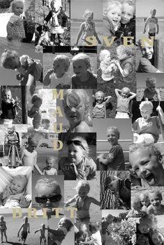 Zwart wit foto collage, met namen erin verwerkt. Mooi op canvas of in lijst