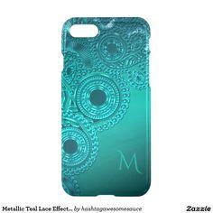 Metallic Teal Lace Effect Monogram #iPhone 7 Case  #zazzle