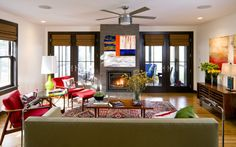 Contemporary colorful living room