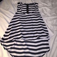 Striped high low tank Zipper on back. Cute. Comfy. Great for nights out. Forever 21 Tops Tank Tops