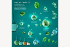 Bio Infographics Elements Graphics The illustration of bio infographics with green leaves in transparent bubbles. Ecology set.The pac by Double Brain