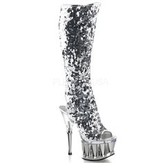 Pleaser Women s  Spiky-2019  Sequin-covered Knee-high Boots Knee High 232bcae1fc61