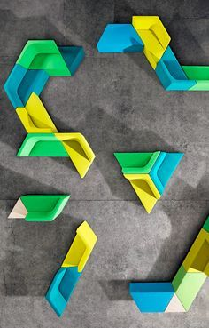 Escher, Tetris, tessellationand fractals all come to mind with this colorful set of angled seating elements. Though their shapes may appear unruly at first, any awkward first impression is quickly dissipated once you see the elements deployed. Developed byAlexander Lotersztain, the one catch ...