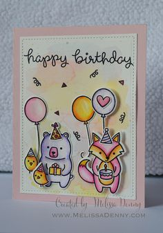 Lawn Fawn - Party Animal, Stitched Rectangle Stackables _ birthday card with a fun color combo by Melissa via Flickr