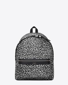 saintlaurent, Classic Hunting Backpack IN BLACK AND White BABYCAT PRINTED Nylon Canvas AND BLACK LEATHER