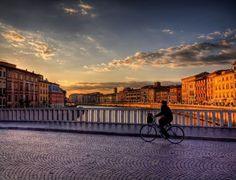 Bridge over the River Arno in Pisa, at Sunset