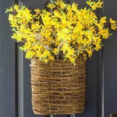 Spring Forsythia Door Basket
